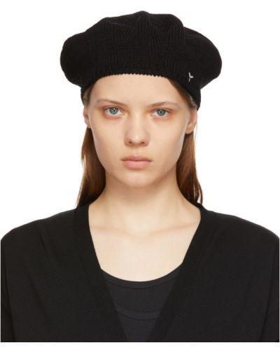 Czarny beret z haftem bawełniany Ys