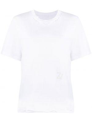 Хлопковая с рукавами белая футболка Zadig&voltaire