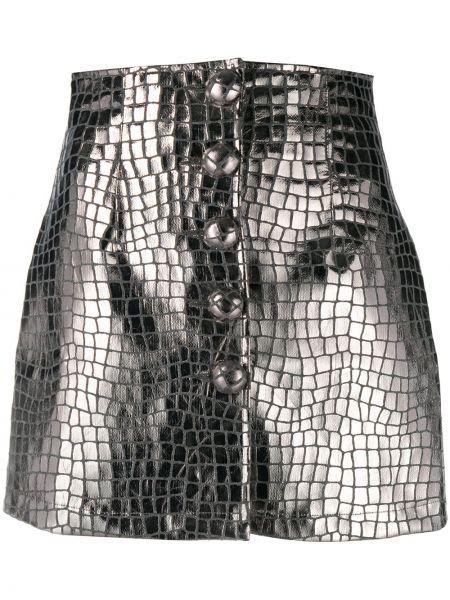 Akryl prosto z wysokim stanem spódnica mini zapinane na guziki Andamane