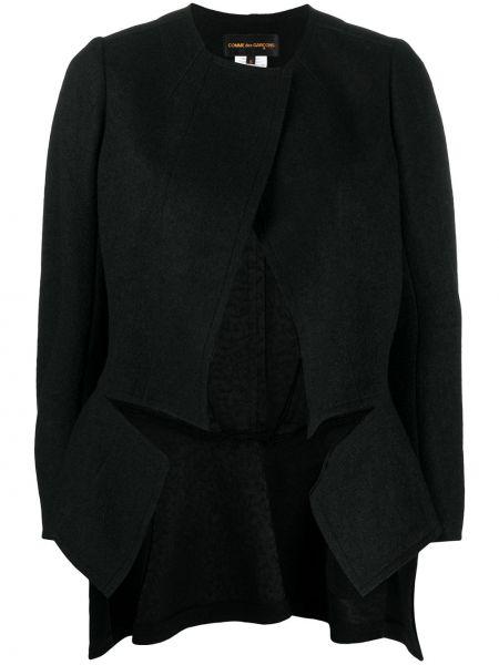 Шерстяной черный удлиненный пиджак с баской Comme Des Garçons