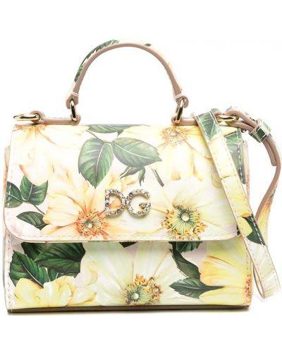 Желтая кожаная сумка на плечо в цветочный принт Dolce & Gabbana Kids