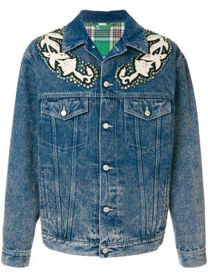 Синяя джинсовая куртка с манжетами на пуговицах прозрачная Gucci