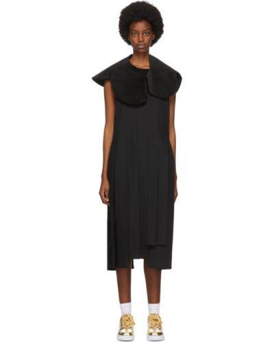 Бархатное черное платье без рукавов Comme Des Garçons