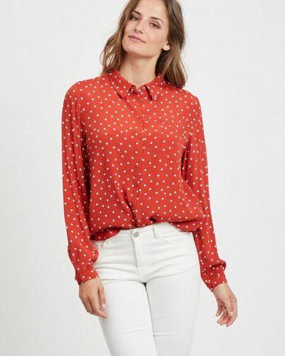 Блузка с длинным рукавом красная Vila
