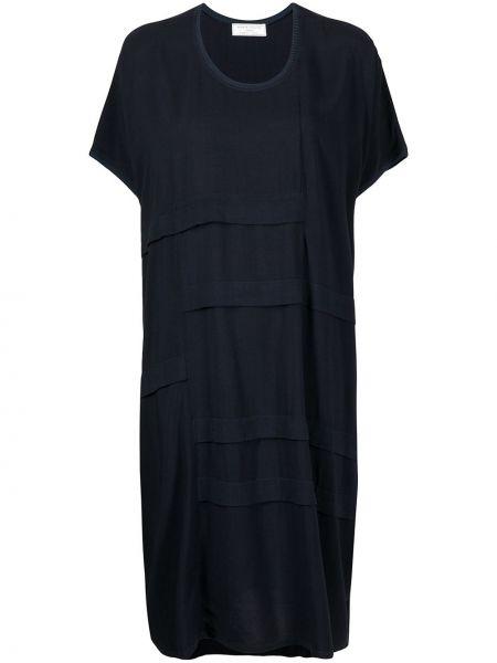 С рукавами синее платье мини трапеция SociÉtÉ Anonyme