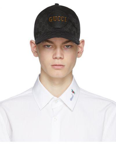 Czarna czapka srebrna na rzepy Gucci