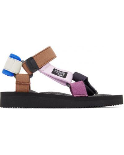 Черные сандалии на липучках на каблуке Suicoke