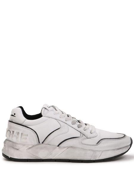 Белые кожаные кроссовки на толстой подошве на шнуровке Voile Blanche