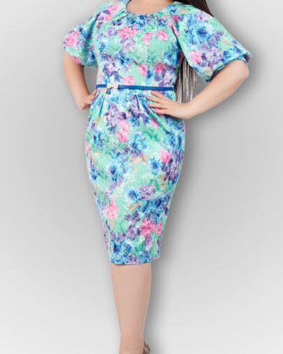 Платье с поясом розовое бирюзовый Lacywear