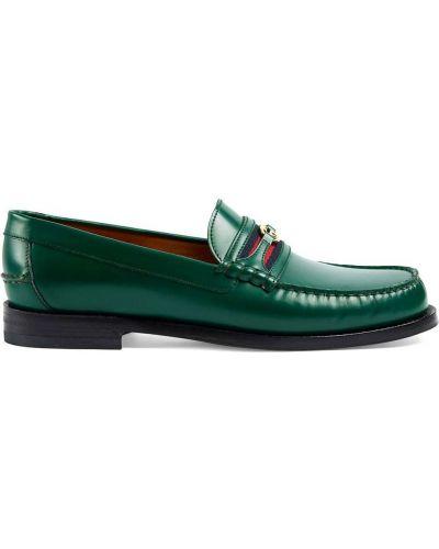 Markowe zielony skórzany loafers Gucci