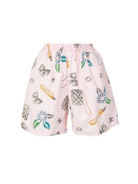 Хлопковые розовые шорты с поясом Chanel Pre-owned