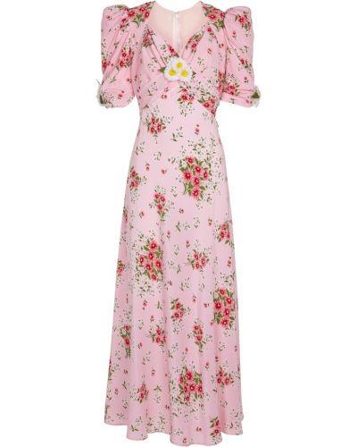 Różowa sukienka z jedwabiu z printem Rodarte