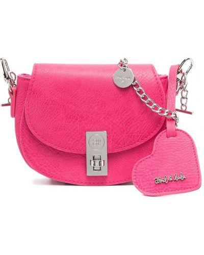 С ремешком розовая сумка на цепочке с подвесками Abel & Lula