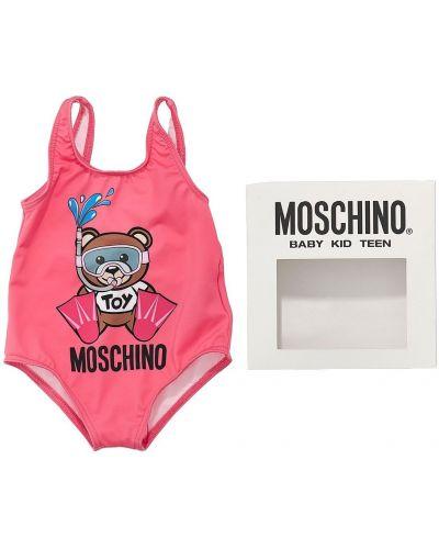 С ремешком розовый слитный купальник на бретелях Moschino