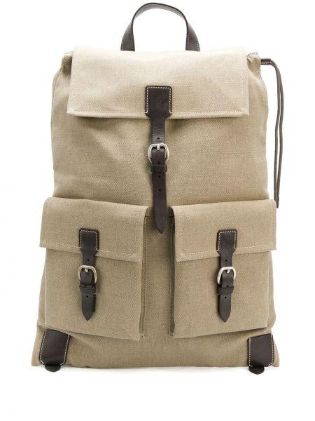 Кожаная бежевая сумка на шнурках с карманами Holland & Holland