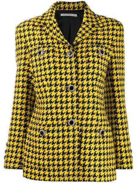 Черный удлиненный пиджак с карманами с воротником Alessandra Rich