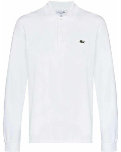 Хлопковая белая классическая рубашка с длинными рукавами Lacoste