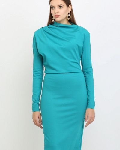 Платье миди бирюзовый осеннее Lea Vinci