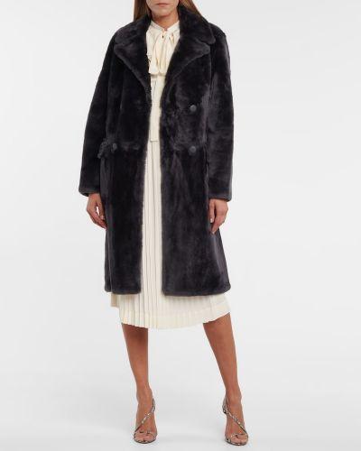 Серое из мериноса пальто Yves Salomon