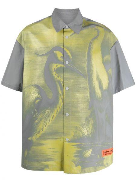 Klasyczna żółta klasyczna koszula krótki rękaw Heron Preston