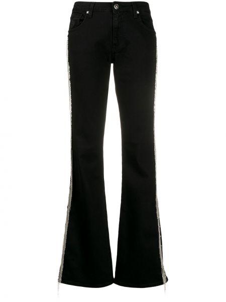 Расклешенные черные широкие джинсы с карманами John Richmond