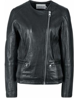 Кожаная куртка черная Calvin Klein Jeans