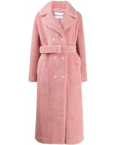 Розовое длинное пальто с поясом Stand