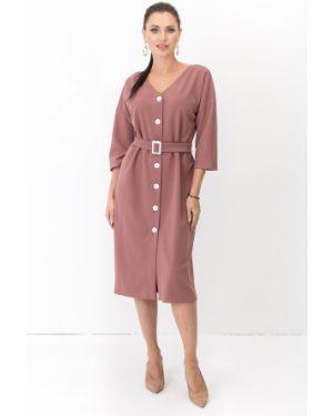 Платье с поясом розовое на пуговицах Taiga