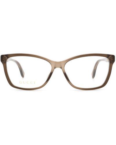Okulary skorzane - brązowe Gucci