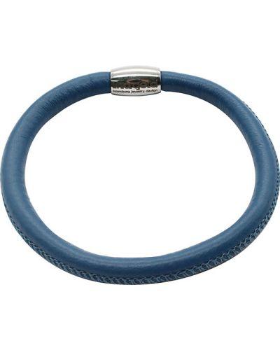 Кожаный браслет с магнитной застежкой синий Liza Geld