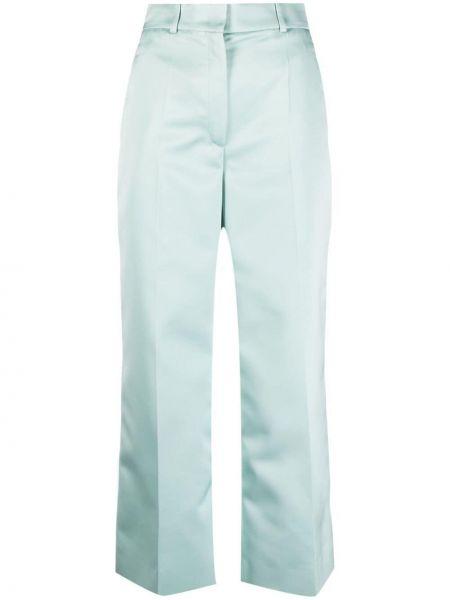 Zielone spodnie bawełniane z paskiem Rochas