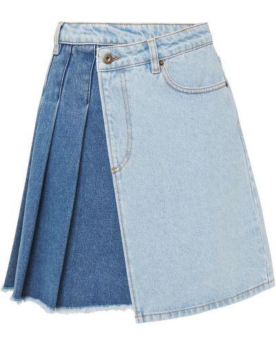 Синяя плиссированная юбка мини с карманами Mcq Alexander Mcqueen