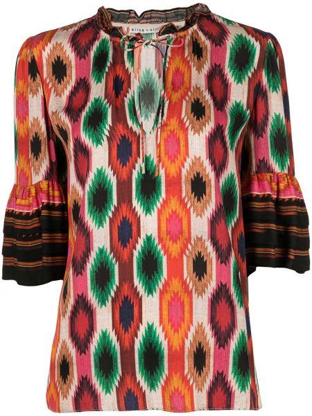 Оранжевая блузка с рукавом 3/4 с принтом Alice+olivia