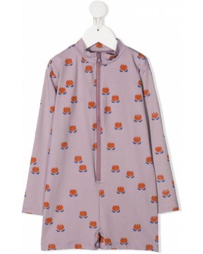 Fioletowy garnitur w kwiaty z długimi rękawami Bobo Choses