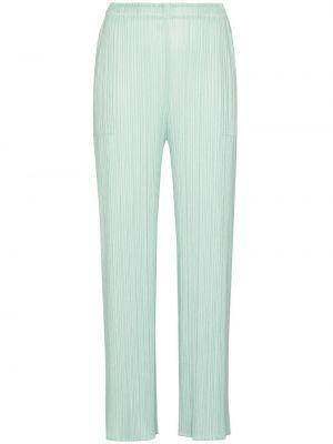 Зеленые укороченные широкие брюки Pleats Please Issey Miyake