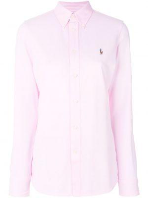 Хлопковый розовый топ на пуговицах с воротником Polo Ralph Lauren