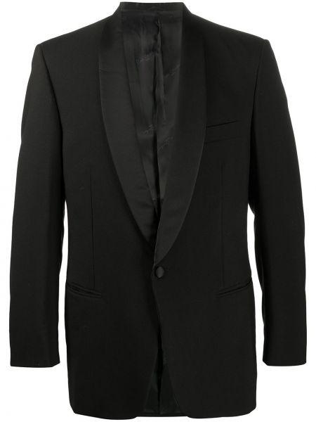 Шерстяной черный пиджак на пуговицах с лацканами Pierre Cardin Pre-owned