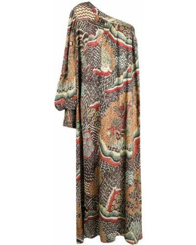 Коричневое платье макси на одно плечо из вискозы Anjuna