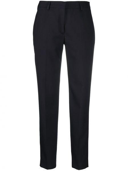 Шерстяные синие укороченные брюки с карманами Paul Smith