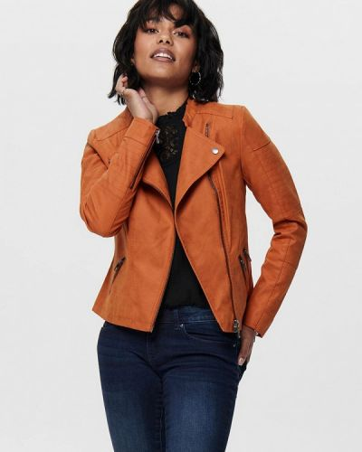Оранжевая кожаная куртка Only