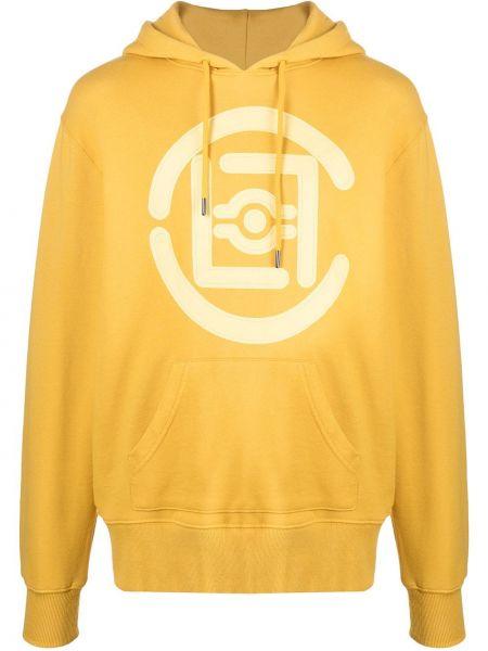 Żółta bluza długa z kapturem z długimi rękawami Clot