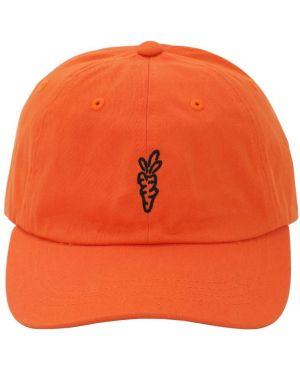 Pomarańczowy kapelusz bawełniany z haftem Carrots