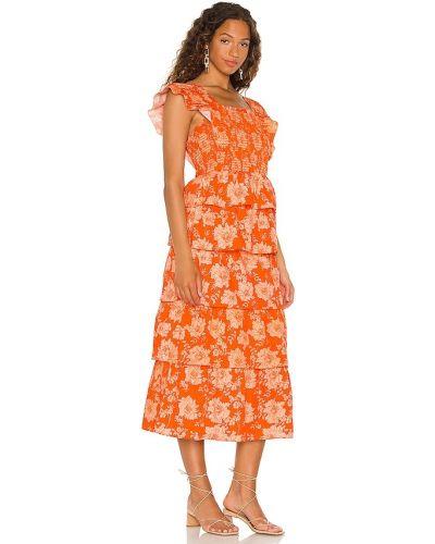 Pomarańczowa sukienka długa bawełniana Saylor