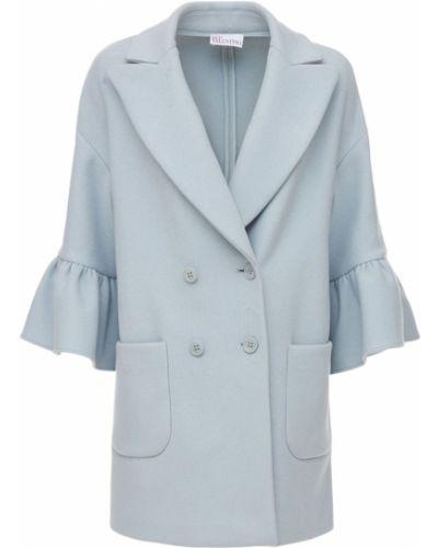 Голубое шерстяное пальто Red Valentino