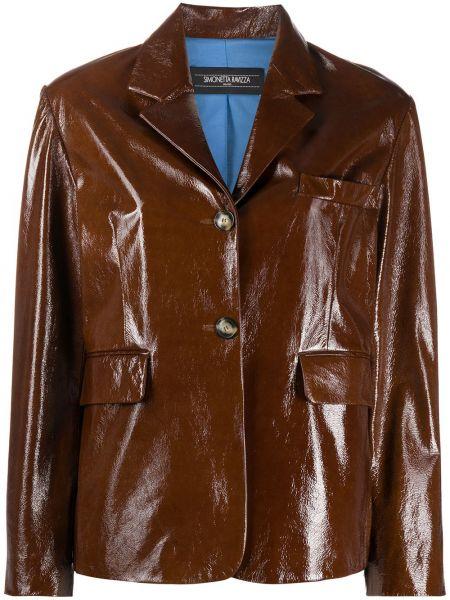 Коричневая кожаная куртка с подкладкой Simonetta Ravizza