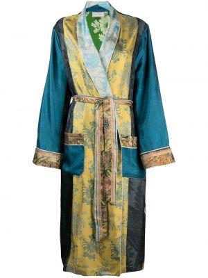 Синий шелковый халат с длинными рукавами Pierre-louis Mascia