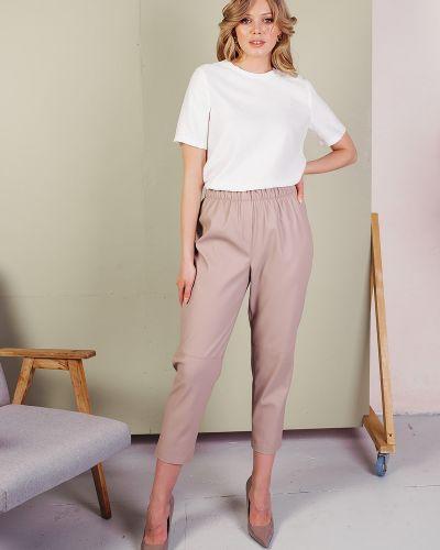 Повседневные кожаные брюки на резинке Mari-line