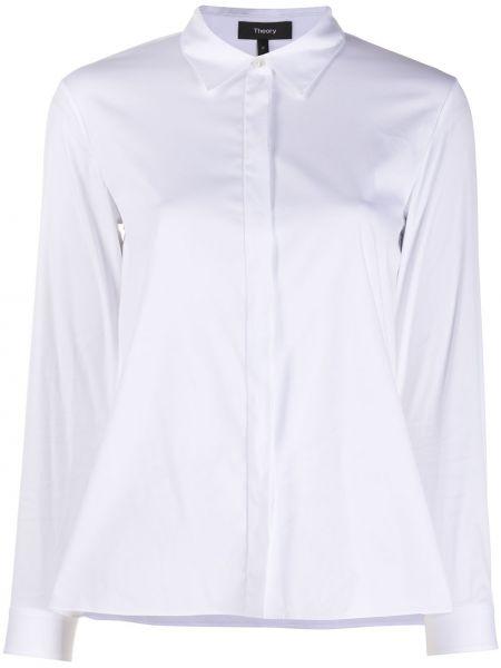 Белая прямая рубашка с воротником с длинными рукавами Theory