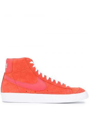 Koronkowa wysoki sneakersy z prawdziwej skóry zasznurować okrągły nos Nike