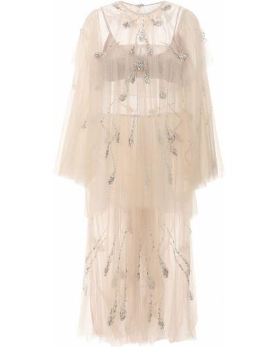 Beżowa sukienka midi z cekinami tiulowa Sandra Mansour
